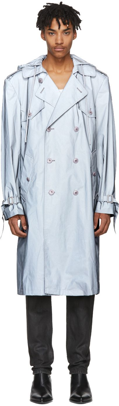 Helmut Lang - Silver Reflective 3M Hooded Trench Coat