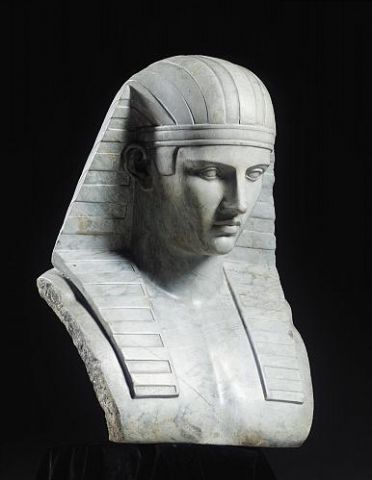 Bust of Antinous in royal Egyptian headdress (grey marble), Henryk Ittar (1773-1850), around 1800, Private Collection. Sale at Sotheby's London on Friday, 9.December 2005. This version of Antinous was designed to be placed in the Tomb of Illusions, a temple within the romantic, classicising garden of Arkadia, the conception of the Princess Helena Radziwill (née Przezdziecka), created in the last decades of the 18th Century in Nieborow (Poland).