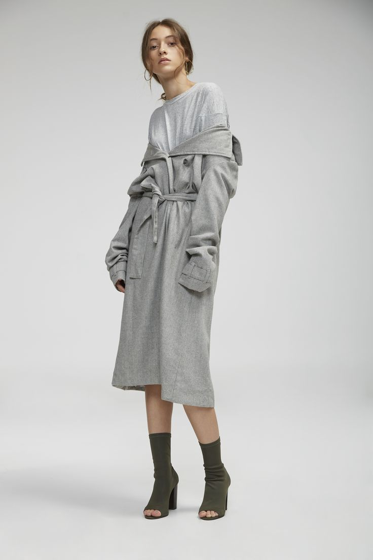 The Fifth- Rendezvous Coat, Light Grey and Off Duty T-Shirt, Grey Marle Slub
