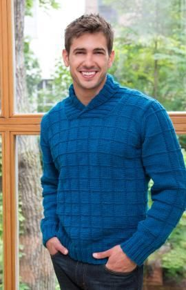 Shawl Collar Pullover Free Knitting Pattern from Red Heart Yarns