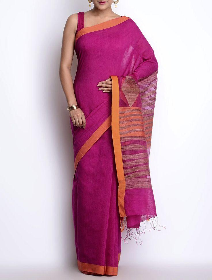 Buy Fuschia Orange Cotton Silk Jamdani Saree Sarees Woven Beauty Hand & Online at Jaypore.com