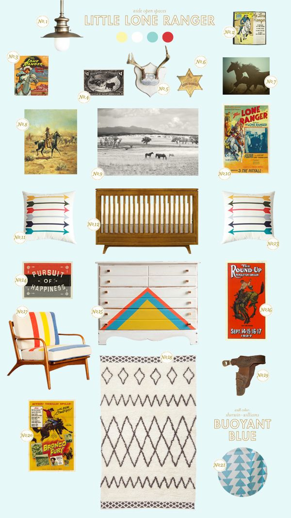 We love this little lone ranger nursery board that Joni Lay created for Style Spotters! Learn where to get the products here: http://www.bhg.com/blogs/better-homes-and-gardens-style-blog/2013/03/02/get-the-look-little-lone-ranger/?socsrc=bhgpin030413loneranger