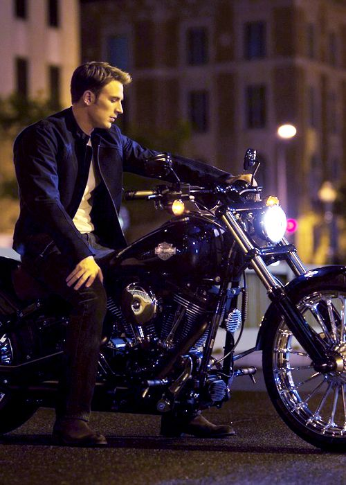 Steve Rogers on a motorcycle.