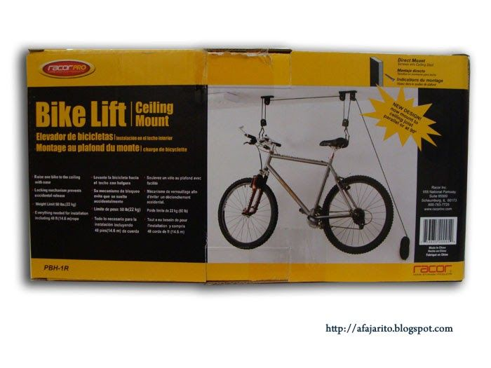 I dicided to install a ceiling mount bike lift for storing our bikes and free up some precious garage space. I found a good priced bike lift...