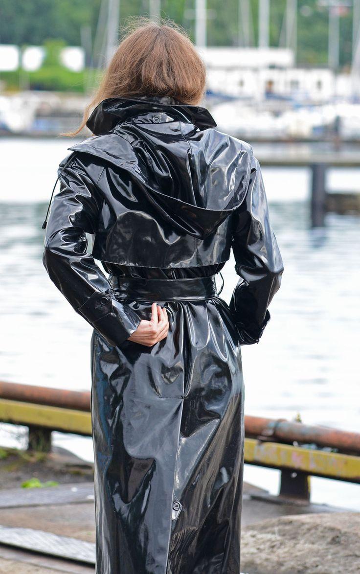 Black PVC Hooded Raincoat