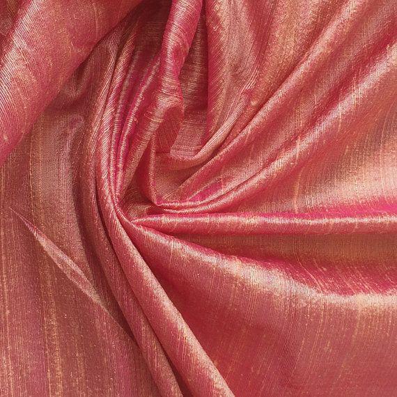Peach Pink 100 Percent Pure Silk Dupioni Fabric Decorative Silk Fabric Wholesale Silk Fabric Raw Silk Fabric Indian Silk Fabric By The Yard by FabricMart