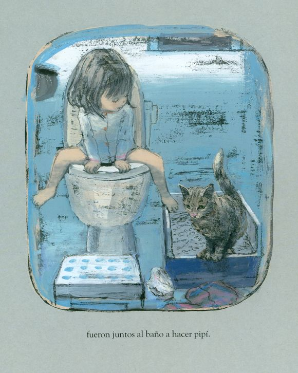 'We woke up early!..' -  From 'Little Anna' Text and illustrations by Komako Sakaï, published in 2013 by the school of leisure.