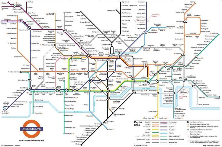 Underground :plan du métro de Londres, Angleterre Le métro de Londres sert pratiquement toutes les zones de la ville, étant l'un des plus étendu et contenant le plus grands nombres de stations. Tu trouveras toujours une station près de ton lieu d'origine ou de destination. Selon Wikipédia, c'est le réseau de métro le plus étendu d'Europe et le quatrième au monde, juste après les monstrueux systèmes de Séoul, Shanghai et Pékin.