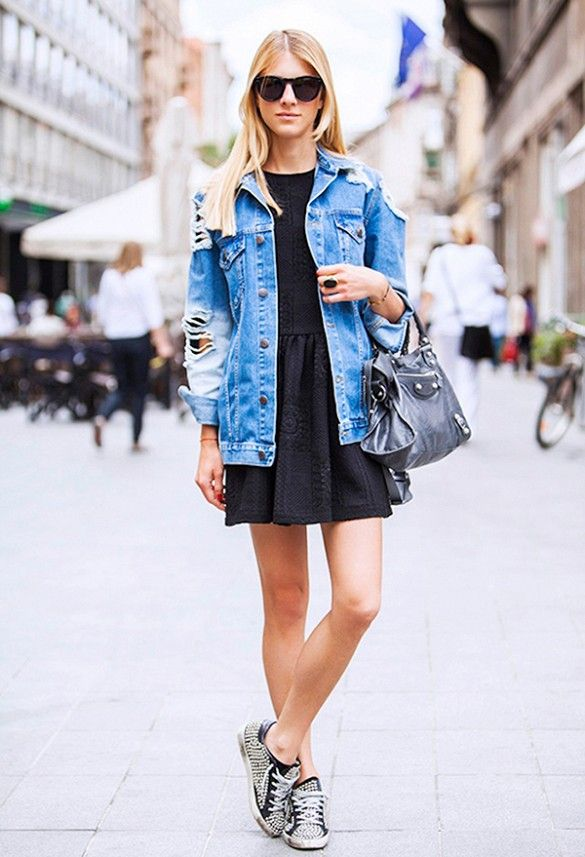 How To Wear An Oversized Denim Jacket via @WhoWhatWear