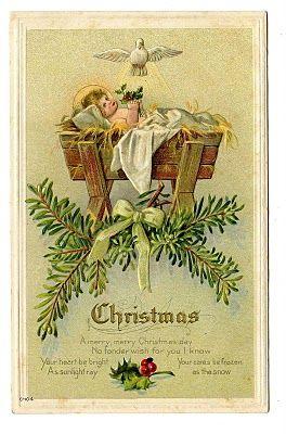 Vintage Christmas Clip Art – Baby Jesus in Manger