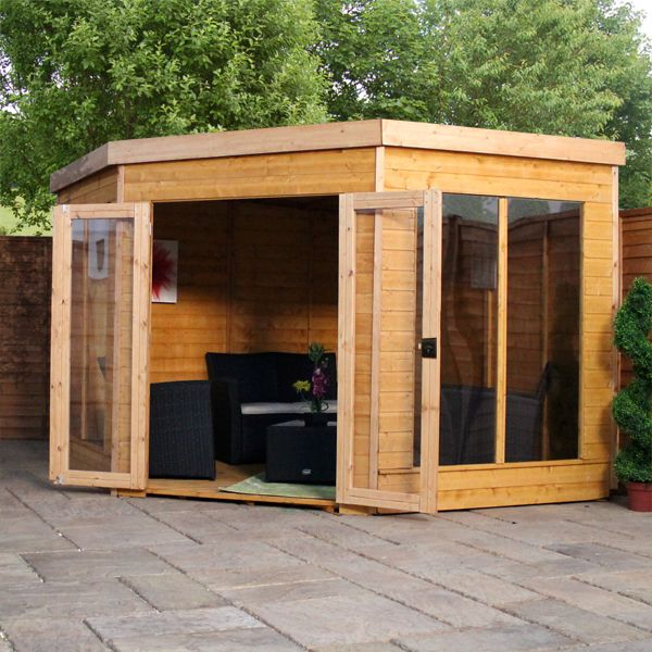 9 x 9 Waltons Premier Corner Summerhouse /She-Shed on Walton Garden Buildings
