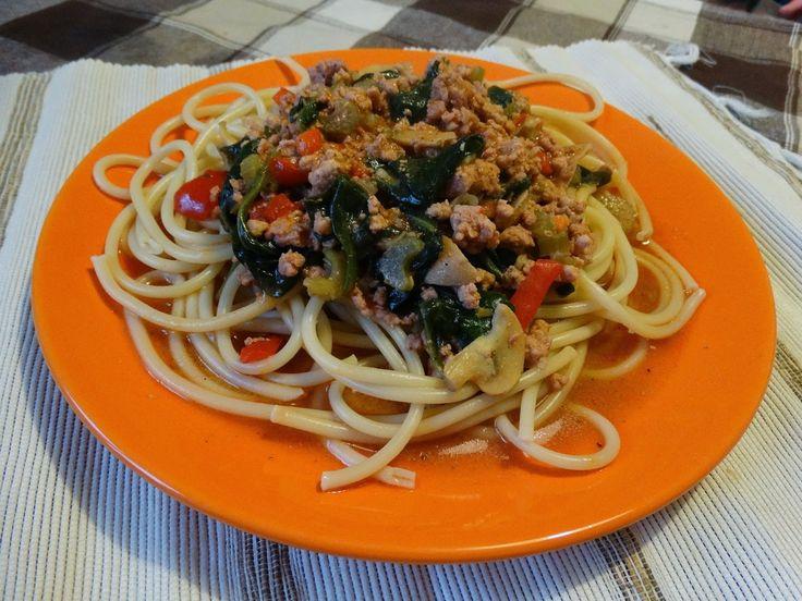 MAMO WIESZ ...?: Spaghetti z selerem naciowym i szpinakiem