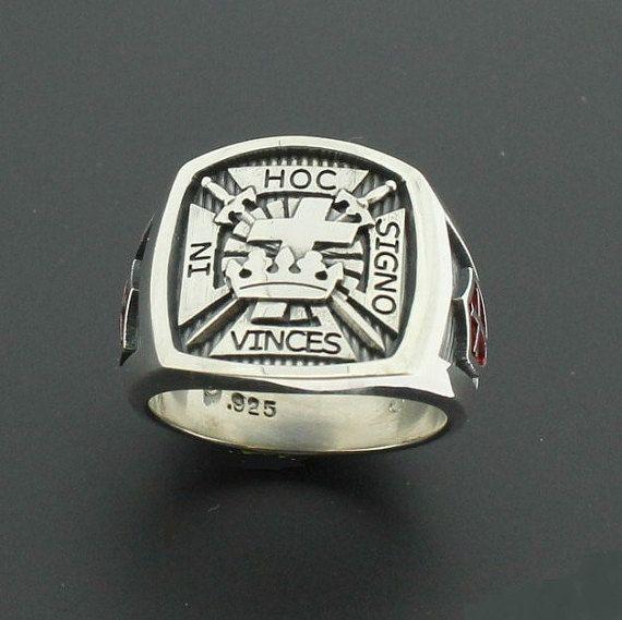 Caballeros Templarios masónicos cruz anillo en plata esterlina