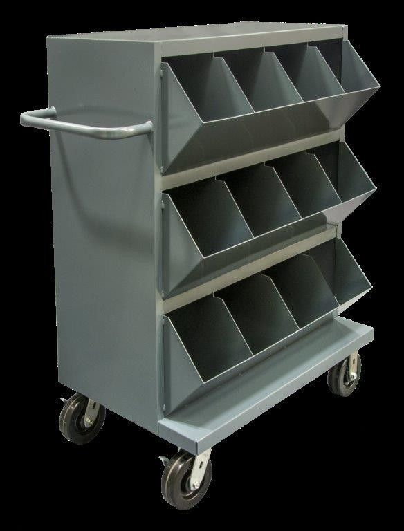 "Features:  -All welded, heavy duty 14 gauge steel construction.  -Bin opening incorporate slope design.  Product Type: -Storage Drawer.  Casters Included: -Yes. Dimensions:  -Slope height: 6"".  -Caste"