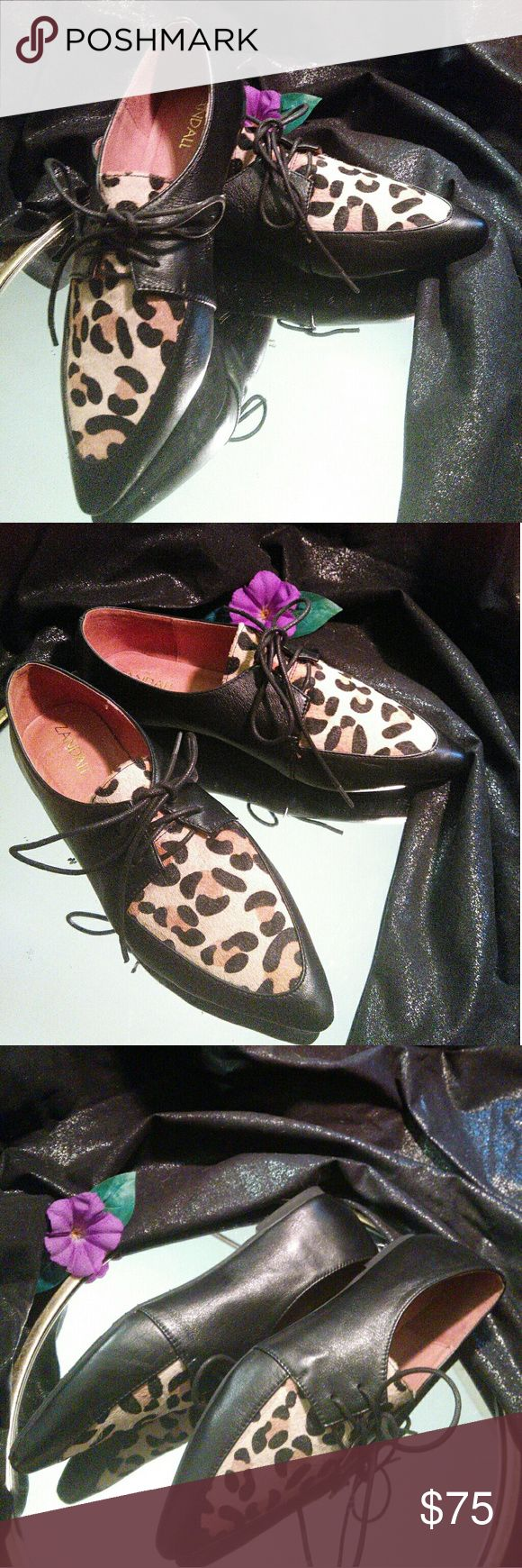 $$DROP$$ ZANDALL leather oxfords. New. Ultra chic! Zandall leather oxfords. Brand new. Size 9/40. Pointed toe. Super soft leather with textured (fur) leopard print detail. These are beautiful, comfortable and very well made. I so wish I could keep them, but they are not my size! :( Zandall Shoes Flats & Loafers
