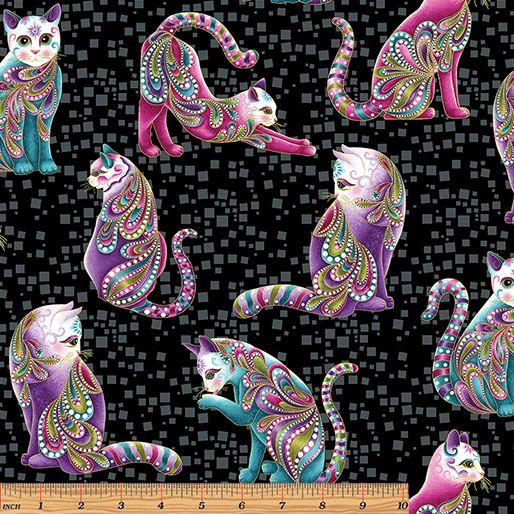Benartex - Cat-I-tude 4201M-12 ARTIST-O-CATS BLACK-MULTI