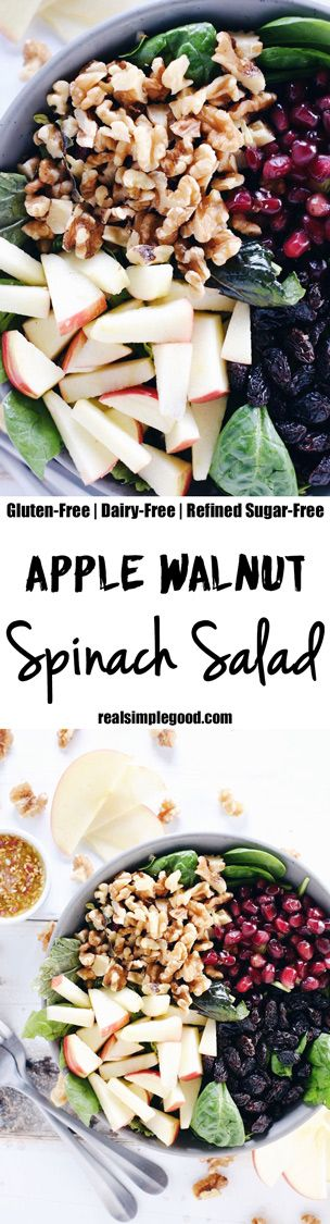 This apple walnut spinach salad is a great way to make lunches during the week a breeze by adding your favorite proteins to make it a complete meal! Paleo, Gluten-Free, Dairy-Free + Refined Sugar-Free