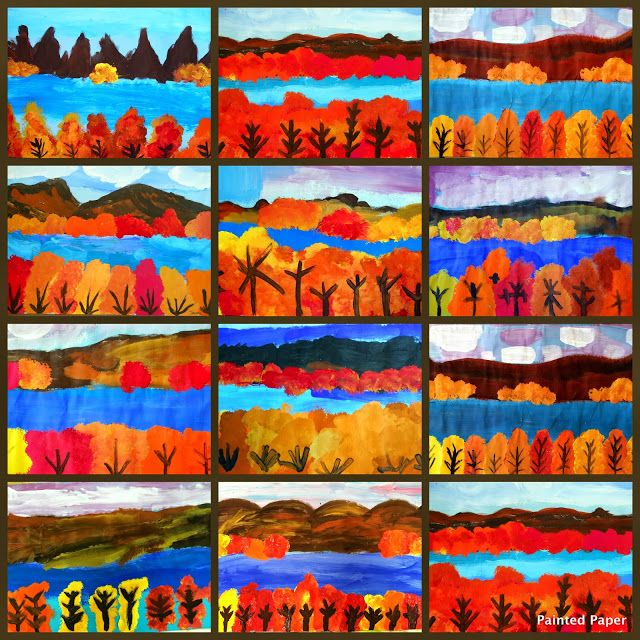 PAINTED PAPER Lake George NY Landscapes Teach Foreground Middle Ground Background Fall Art ProjectsArt Project For KidsProject IdeasThanksgiving
