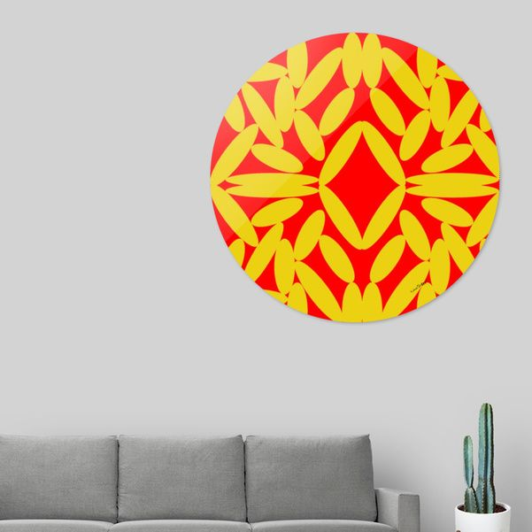 "Discover ""Red Floating Diamond and Gold Orbs"", Exclusive Edition Disk Print by Celeste Sheffey of Khoncepts on Curioos"