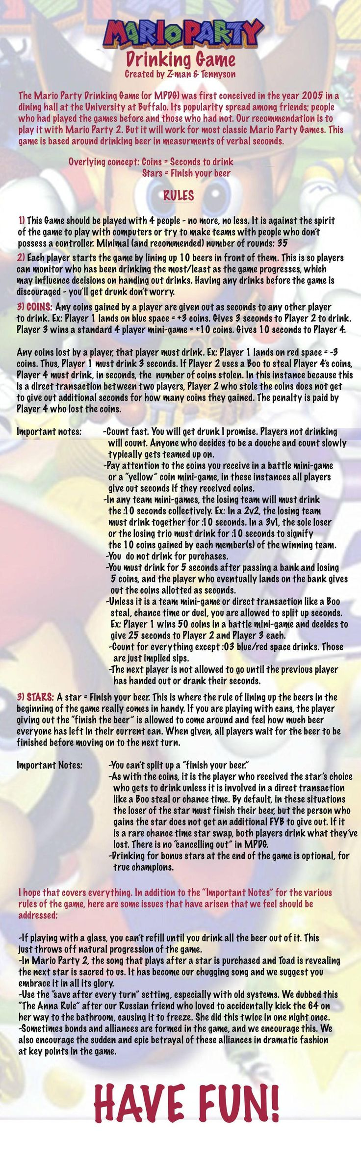 It's about time I shared this with the world...The Mario Party Drinking Game - Imgur