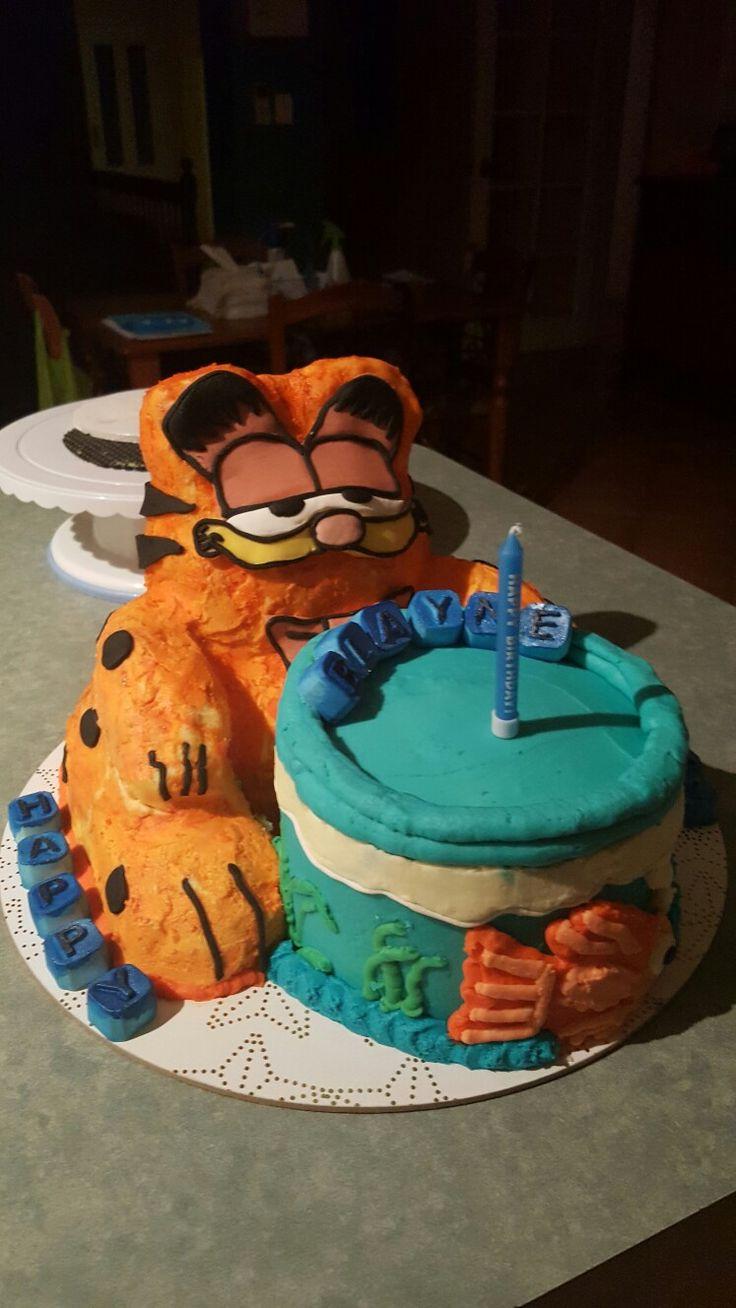 Garfield & Fish bowl 1st birthday cake.