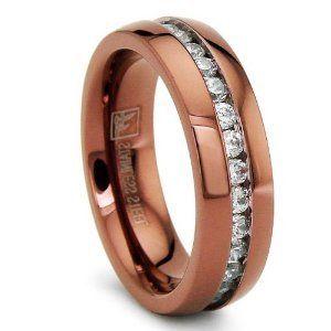 6mm chocolate eternity stainless steel ring wedding band with cz size 8 buy wedding bandwedding ringstainless steel ring product on alibabacom - Chocolate Wedding Ring