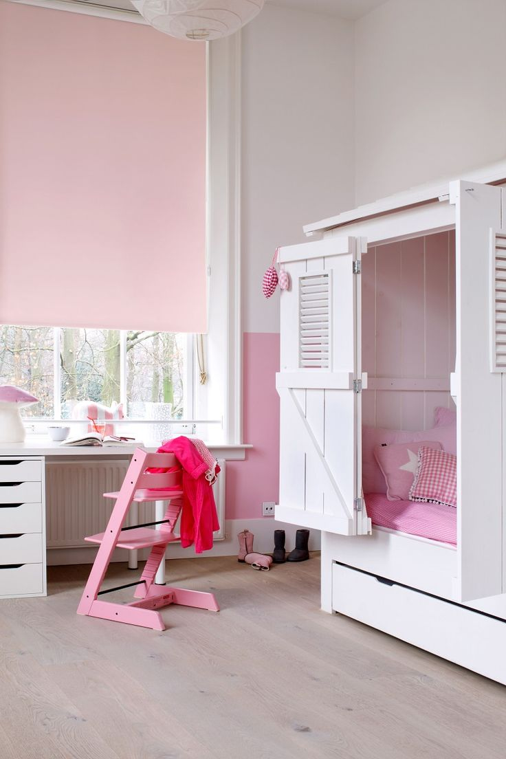 #kinderkamer #roze #meidenkamer #rolgordijn #raamdecoratie #rolgordijnwinkel www.rolgordijnwinkel.nl