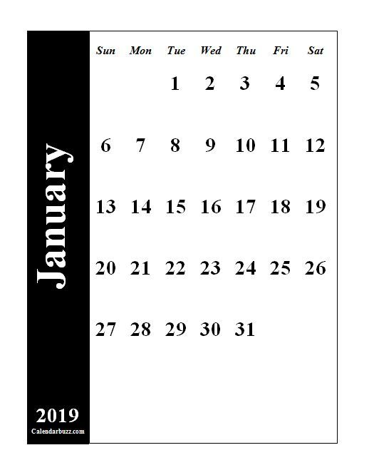 January 2019 Calendar Vertical Blank January 2019 Calendar