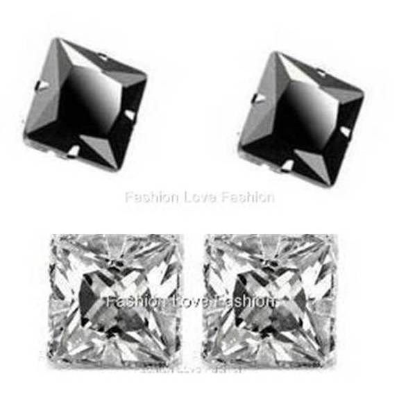 2 Pairs Cz Clear+Black Square Magnetic Earrings Stud Clip On Bone Cuff Men Women