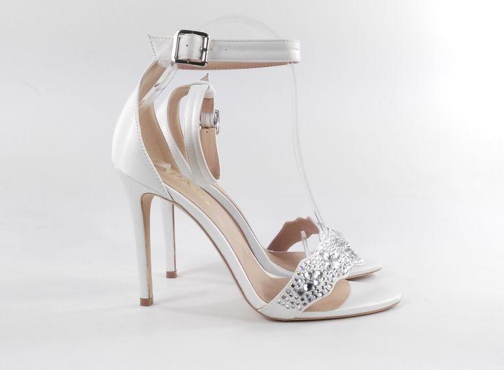 Strappy high heel wedding shoe! #oparishoes #whiteweddingshoe #opentoeweddingshoe