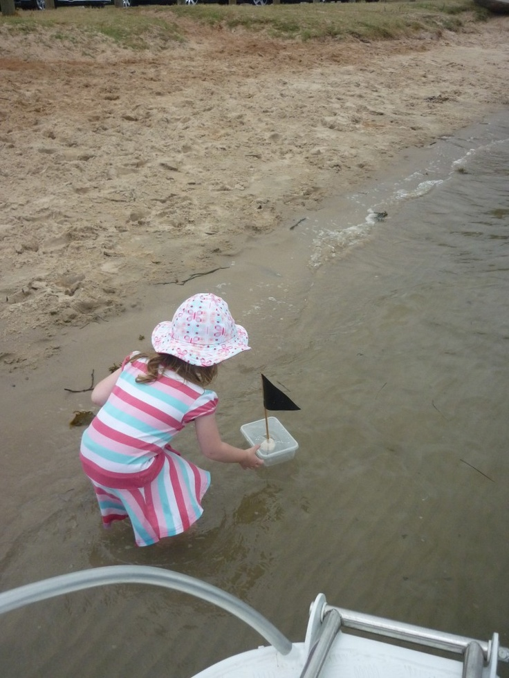 The unsinkable homemade toddler boat. 'Titanic Boat'