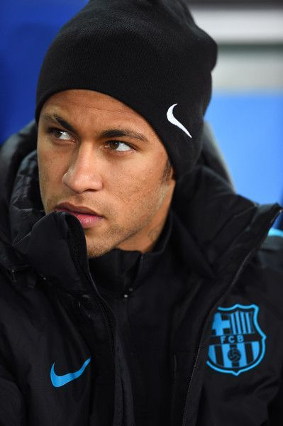 Neymar of Barcelona looks on during the FIFA Club World Cup Semi Final match bet...