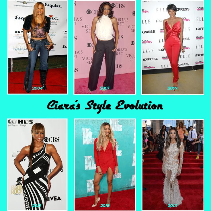 """Ciara's Style Evolution since her first studio album """"Goodies"""" in 2004."""
