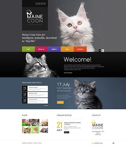 Bootstrap #template // Regular price: $75 // Unique price: $4500 // Sources available: .HTML,  .PSD  #Bootstrap #Animals #Pets #Cat