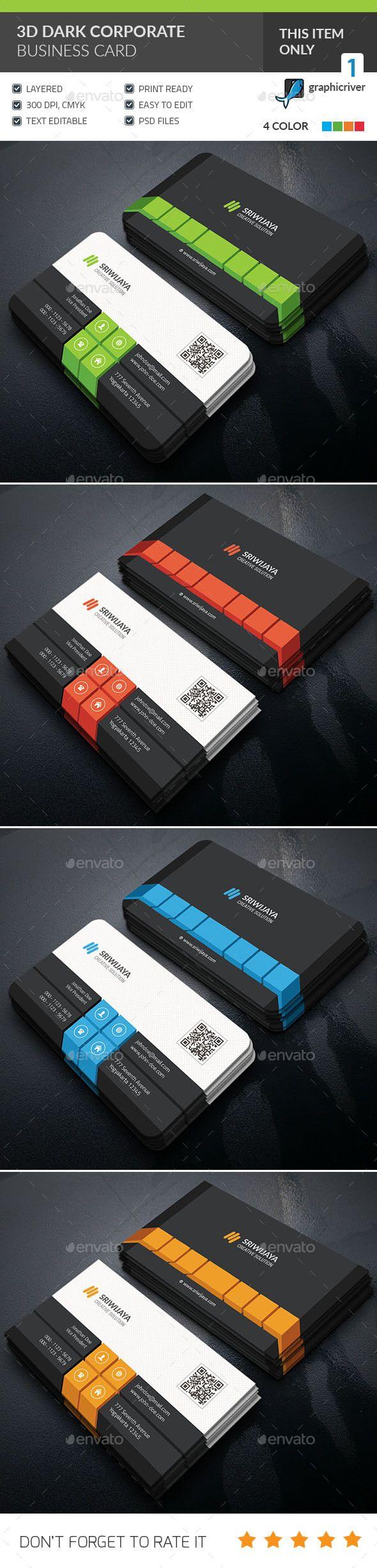 3D Dark Corporate Business Card Design - Corporate Business Card Template PSD. Download here: http://graphicriver.net/item/3d-dark-corporate-business-card-/16777772?s_rank=341&ref=yinkira