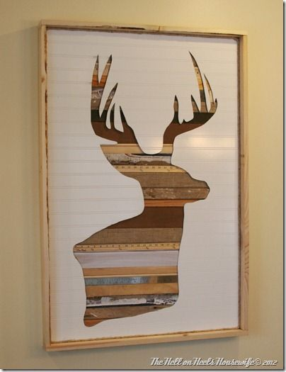 DIY artwork. such a cool idea. Not crazy about the deer head,