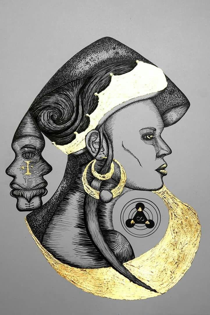 Reina del norte. Rapidografos y laminilla de oro. Oscar_ilustra