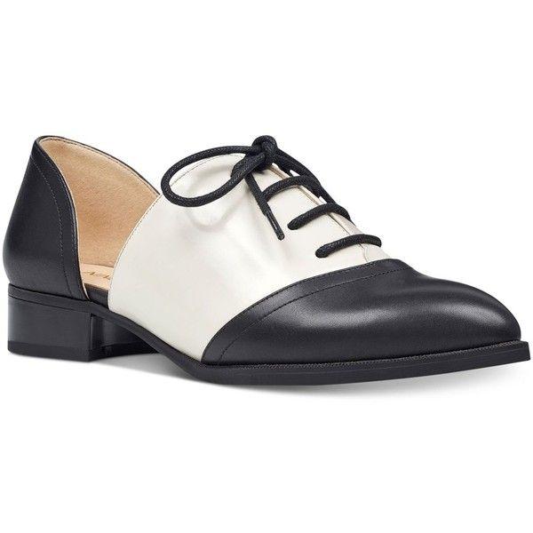 Nine West Nuvima Oxford Flats ($79) ❤ liked on Polyvore featuring shoes, oxfords, oxford flat shoes, flat pump shoes, flat d orsay shoes, d'orsay shoes and flat pumps