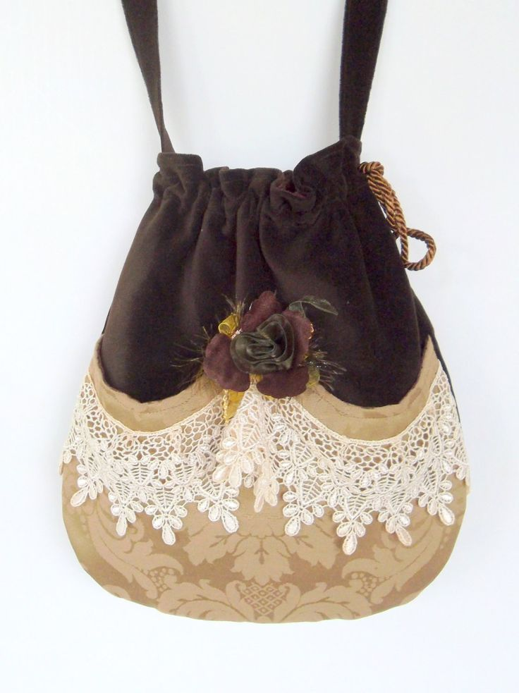 Victorian Bag Rose and Lace   Mori Girl  Brown Velvet Bag  Drawstring velvet bag Bag  Crossbody Drawstring Bag  Evening Bag. $45.00, via Etsy.