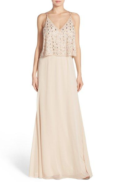 Aidan Mattox Embellished Popover Georgette Gown available at #Nordstrom
