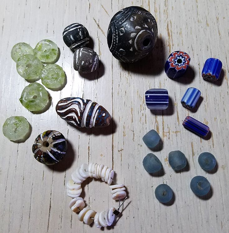 I am so excited to have Jackie Marchant as my partner, i have so enjoyed getting to know her! These are some of my favorite hoarded beads that I sent to her. I have a special fondness for African trade beads and their history and was happy to share them!