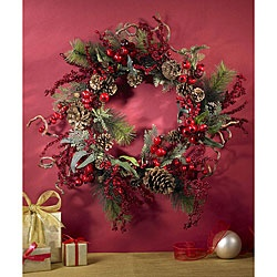 @Overstock - Channel a splash of holiday cheer with this floral wreath for your front door. Featuring a mix of luscious foliage interspersed with bright and vibrant berries, this wreath will transform the look of your home all through the Christmas season.http://www.overstock.com/Home-Garden/Assorted-Berry-24-inch-Wreath/4311822/product.html?CID=214117 $43.44