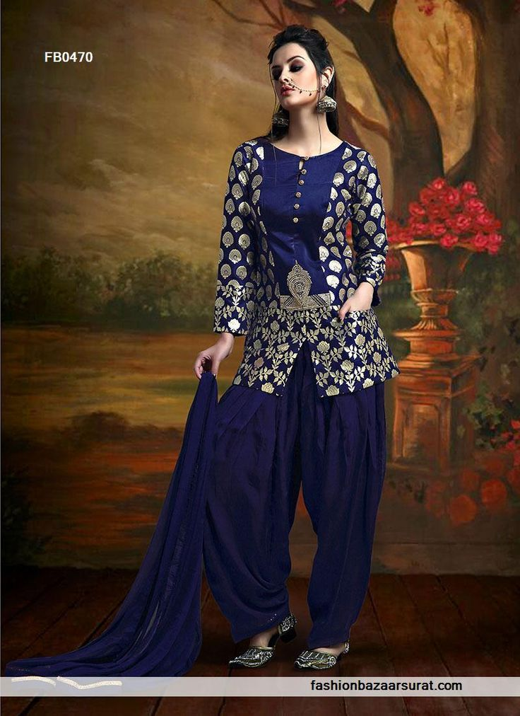 Shop with confidence at fashionbazaarsurat.Com for latest and exclusive bollywood salwar kameez. Sensational Santoon Navy Blue Patiala Suit.