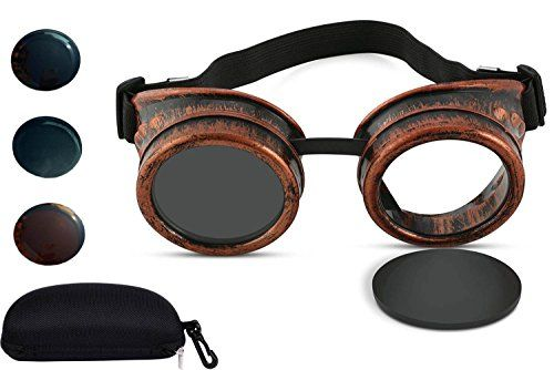 Solar Eclipse Glasses - Shade 14 Vintage Steampunk Goggles CE ISO Certified Welding Cyber Punk Gothic for Safety Eye Protection - Tengyes Cosplay Glasses for Man Woman Kids