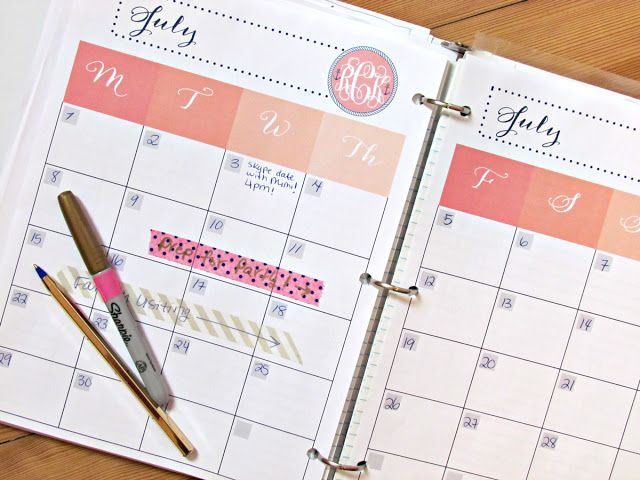 Personalized monogram-able ombre nautical preppy planner agenda calendar page download