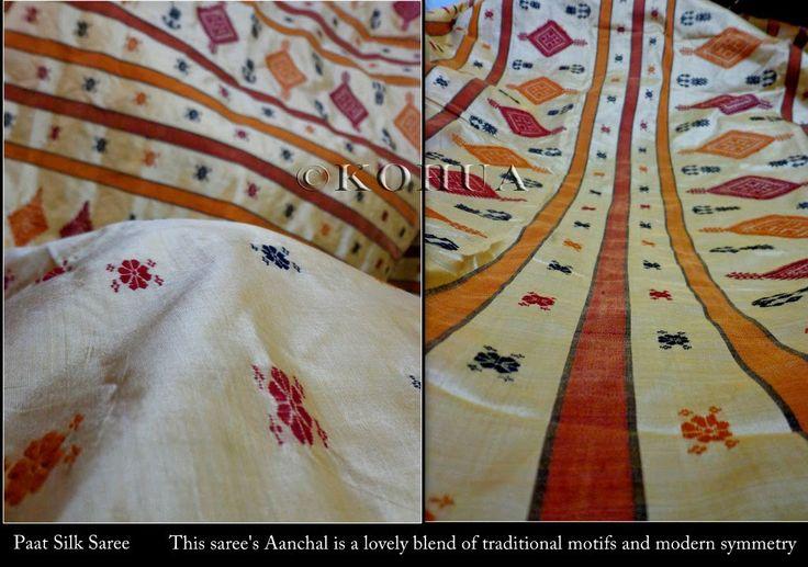 Assam Silk (Mulberry) Saree - Beige Silk from Lal10.com