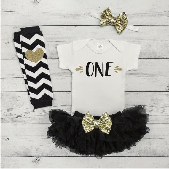 Baby Girl First Birthday Tutu Outfit Girl Baby Girl Clothes 1st Birthday Girl Outfit One Year Old Girl Birthday Outfit Black Gold Set by BumpAndBeyondDesigns