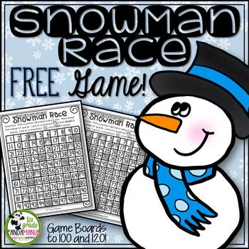 This Snowman Race Math Game FREEBIE is a sample from my Math and Literacy Winter FUN Pack:Winter FUN PackThis game is perfect for math centers, game day, or inside recess! Your students will play it over and over again! 2 boards are included: 1-100 grid and 1-120 grid!