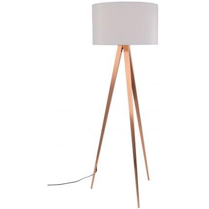Stojací lampa ZUIVER TRIPOD Ø 50 cm, měď/bílá