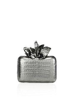Nancy Gonzalez - Metallic Crocodile Butterfly Box Clutch